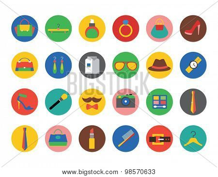 Clothes and fashion icons set. Bag, girls shop, shopping symbols, store, cosmetics, beauty, woman, button, eye, dress. Interface elements. Stock illustration