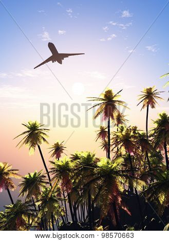 Passenger plane over the island.