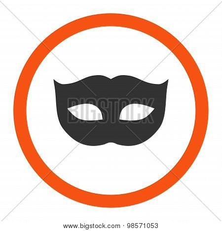 Privacy Mask flat orange and gray colors rounded vector icon