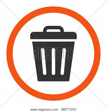 Trash Can flat orange and gray colors rounded vector icon