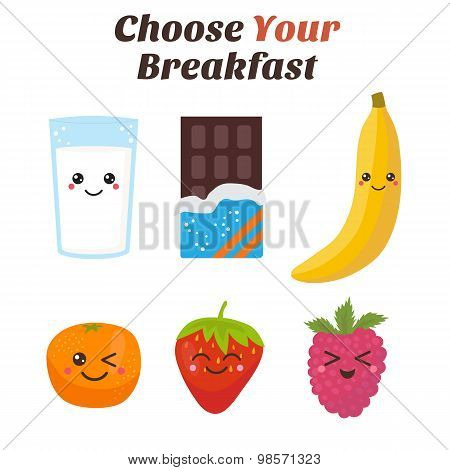 Choose Your Breakfast. Healthy Lifestyle Breakfast. Cute Kawaii Food Characters