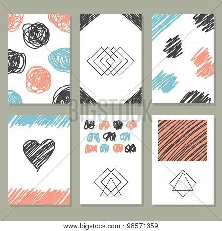 Collection Of Hand Drawn Creative Journaling Cards. Trendy Posters With Hand Drawn Background. Patte