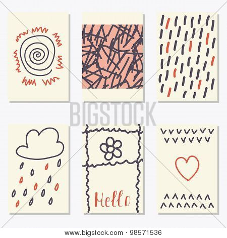 Cute Patterns For Placards, Posters, Flyers And Banners. Hand Drawn Collection Of Design Elements. T