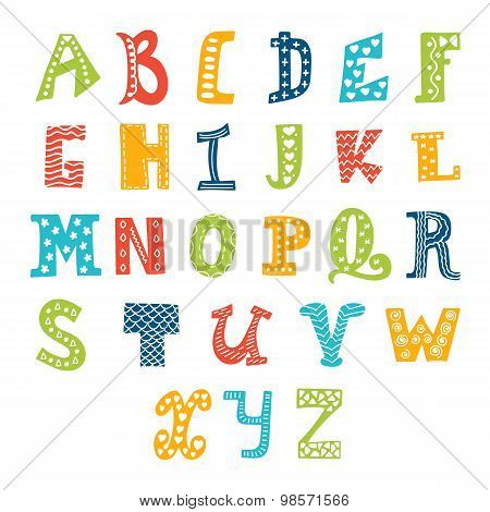 Cute Vector Alphabet Isolated On White Background. Letters