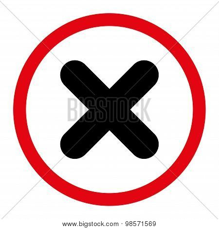 Cancel flat intensive red and black colors rounded vector icon