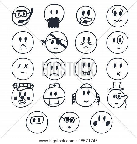 Hand Drawn Faces With Different Emotions. Set Of Cute Faces With Different Expressions