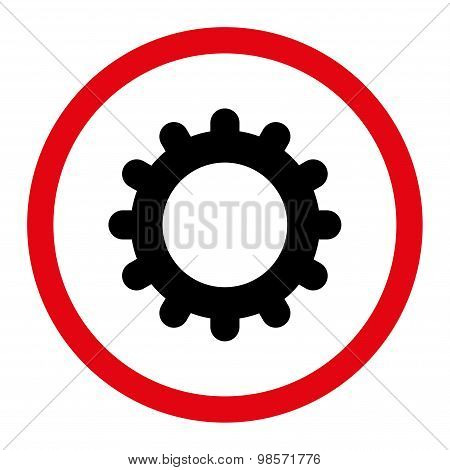 Gear flat intensive red and black colors rounded vector icon