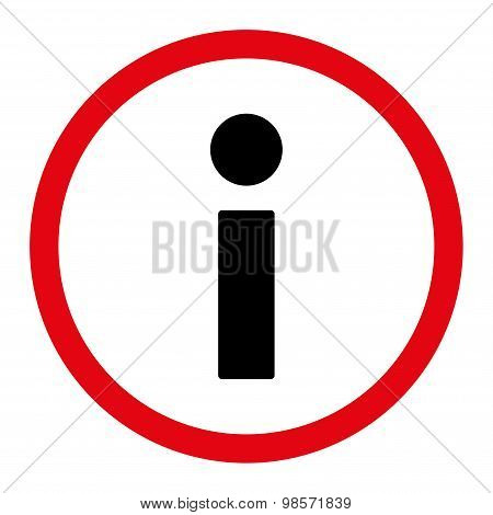 Info flat intensive red and black colors rounded vector icon