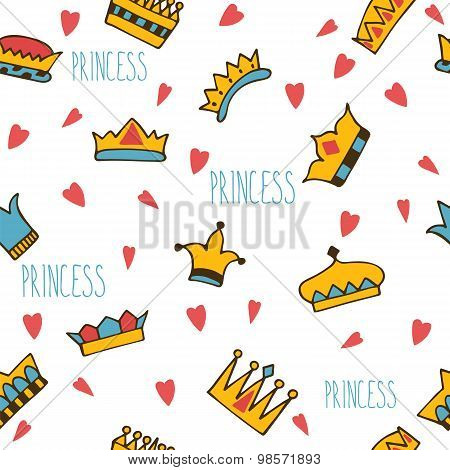 Princess Seamless Pattern With Hand Drawn Crowns And Hearts