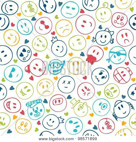 Seamless Pattern Of Hand Drawn Colorful Funny Faces With Hearts