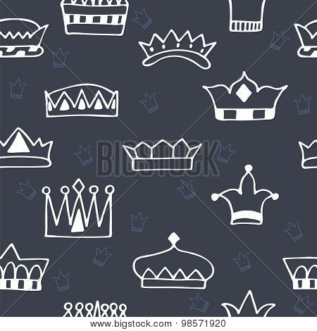 Seamless Pattern With Hand Drawn Crowns On Dark Background