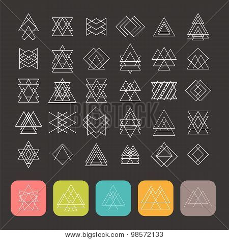 Set Of 35 Trendy Geometric Shapes. Hipster Retro Signs For Logotypes And Business Cards