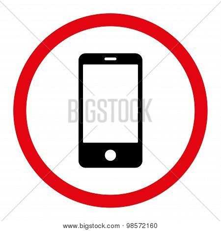 Smartphone flat intensive red and black colors rounded vector icon