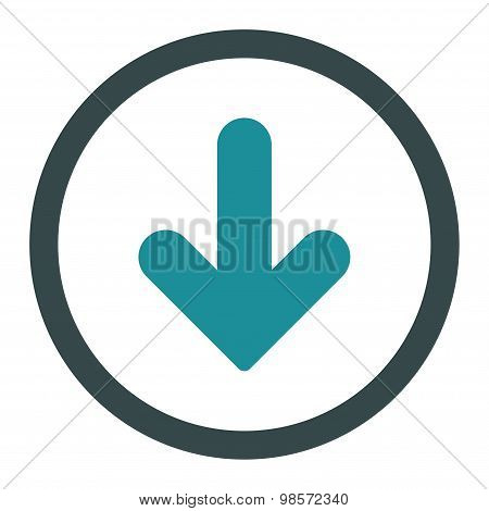 Arrow Down flat soft blue colors rounded vector icon