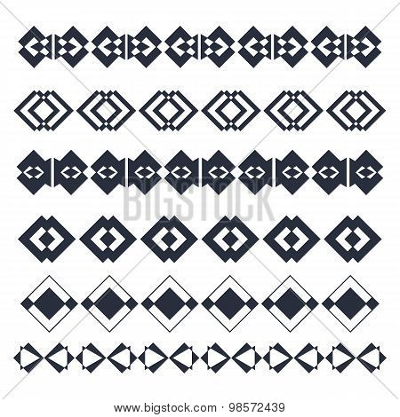 Vector Line Border Design Elements. Abstract Geometric Elements For Frame Or Border. Ethnic Pattern