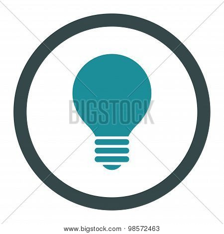 Electric Bulb flat soft blue colors rounded vector icon