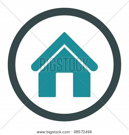 Home flat soft blue colors rounded vector icon