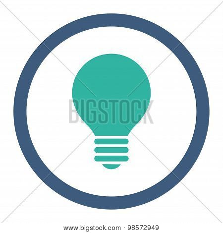 Electric Bulb flat cobalt and cyan colors rounded vector icon