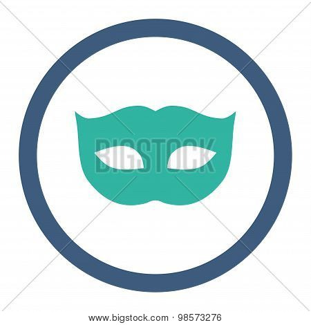 Privacy Mask flat cobalt and cyan colors rounded vector icon