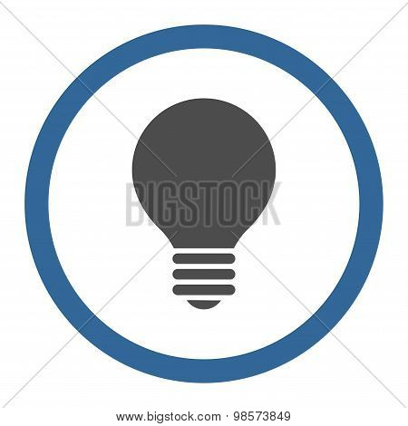 Electric Bulb flat cobalt and gray colors rounded vector icon