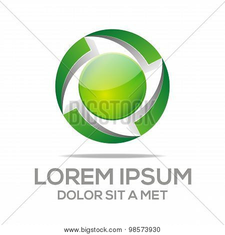 Abstract logo letter g eco leaf Circle
