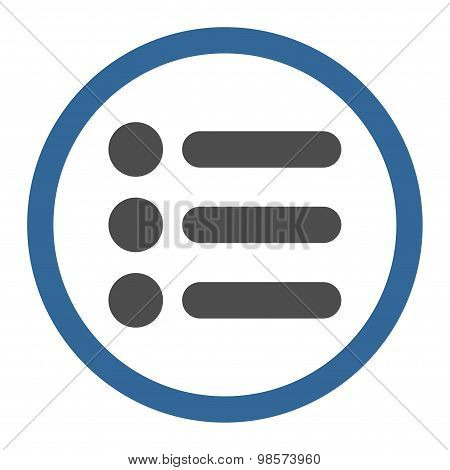 Items flat cobalt and gray colors rounded vector icon