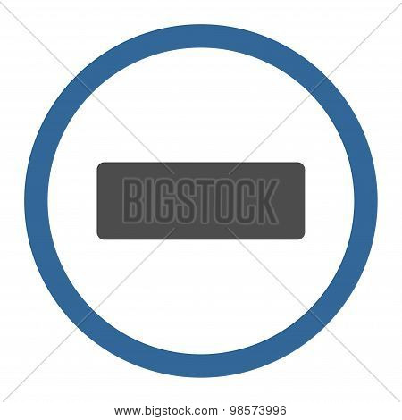 Minus flat cobalt and gray colors rounded vector icon