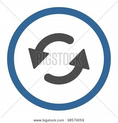 Refresh Ccw flat cobalt and gray colors rounded vector icon