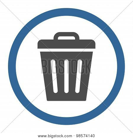 Trash Can flat cobalt and gray colors rounded vector icon