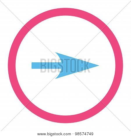 Arrow Axis X flat pink and blue colors rounded vector icon