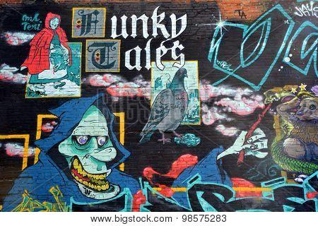 Street art the little red riding hood
