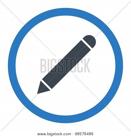 Pencil flat smooth blue colors rounded vector icon