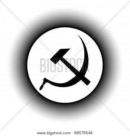 Hammer And Sickle Sign Button.