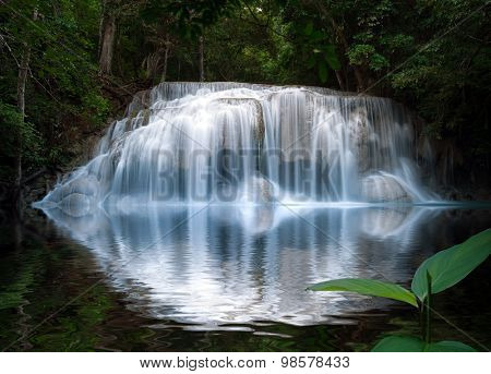 Smooth and silky waterfall with reflection in water. Beautiful nature background