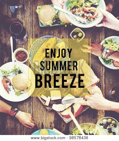 Enjoy Summer Breeze Friendship Beach Vacation Concept