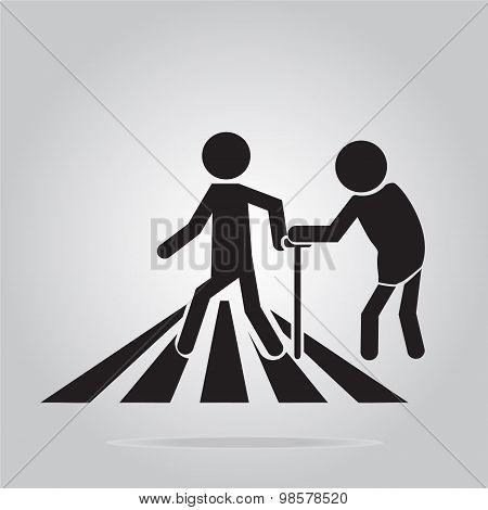 Pedestrian Crossing Sign, Elderly Crossing Road Sign Illustration
