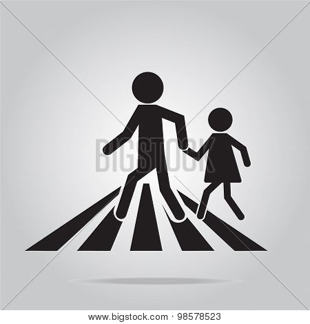 Pedestrian Crossing Sign, School Road Sign Illustration