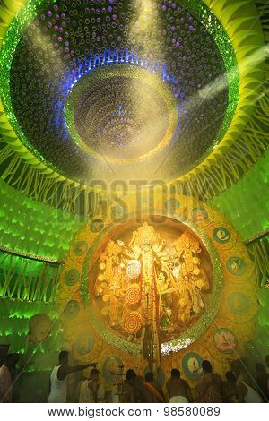 Kolkata , India - October 2, 2014 : Durga Puja Festival, Decorated Pandal