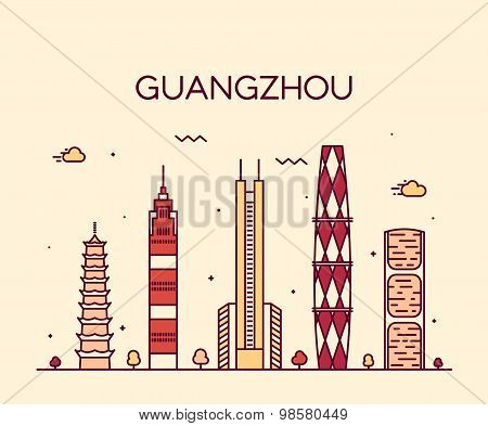 Guangzhou skyline vector illustration linear