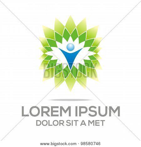 Logo design element eco leaves people vector