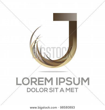 Abstract logo symbol letter j vector