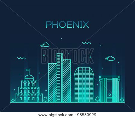 Phoenix skyline trendy vector illustration linear
