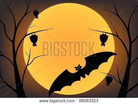 Bat flying in the night and sleep on a dead trees and full moon. Vector design Halloween concept.