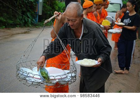 Offer Food To Monk