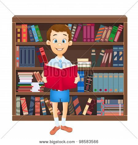 School Boy Reading A Book And Library. Vector Illustration