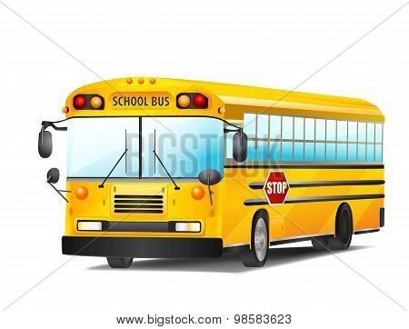 School Bus On White. Vector Illustration