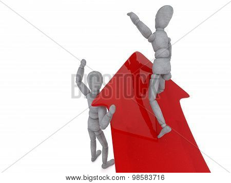3D Character Doll With Joints And Concrete Texture