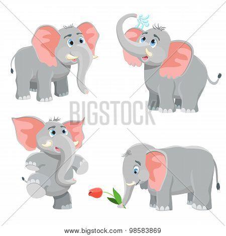 Cartoon Elephant Set. Vector Illustration