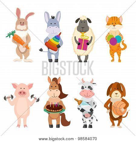 Set Of Farm Cartoon Animals With Childish Activities