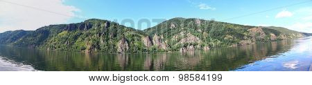 Panoramic view of cliffs and the Yenisei River